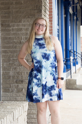 Navy and Mint Tie Dye Dress