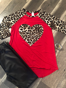 Red and Leopard Heart Tunic