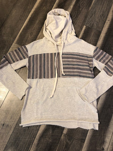 Oatmeal Hoodie with Striped Contrast