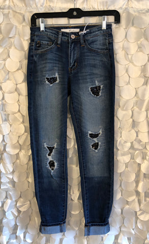 Distressed Jeans with Black Sequins