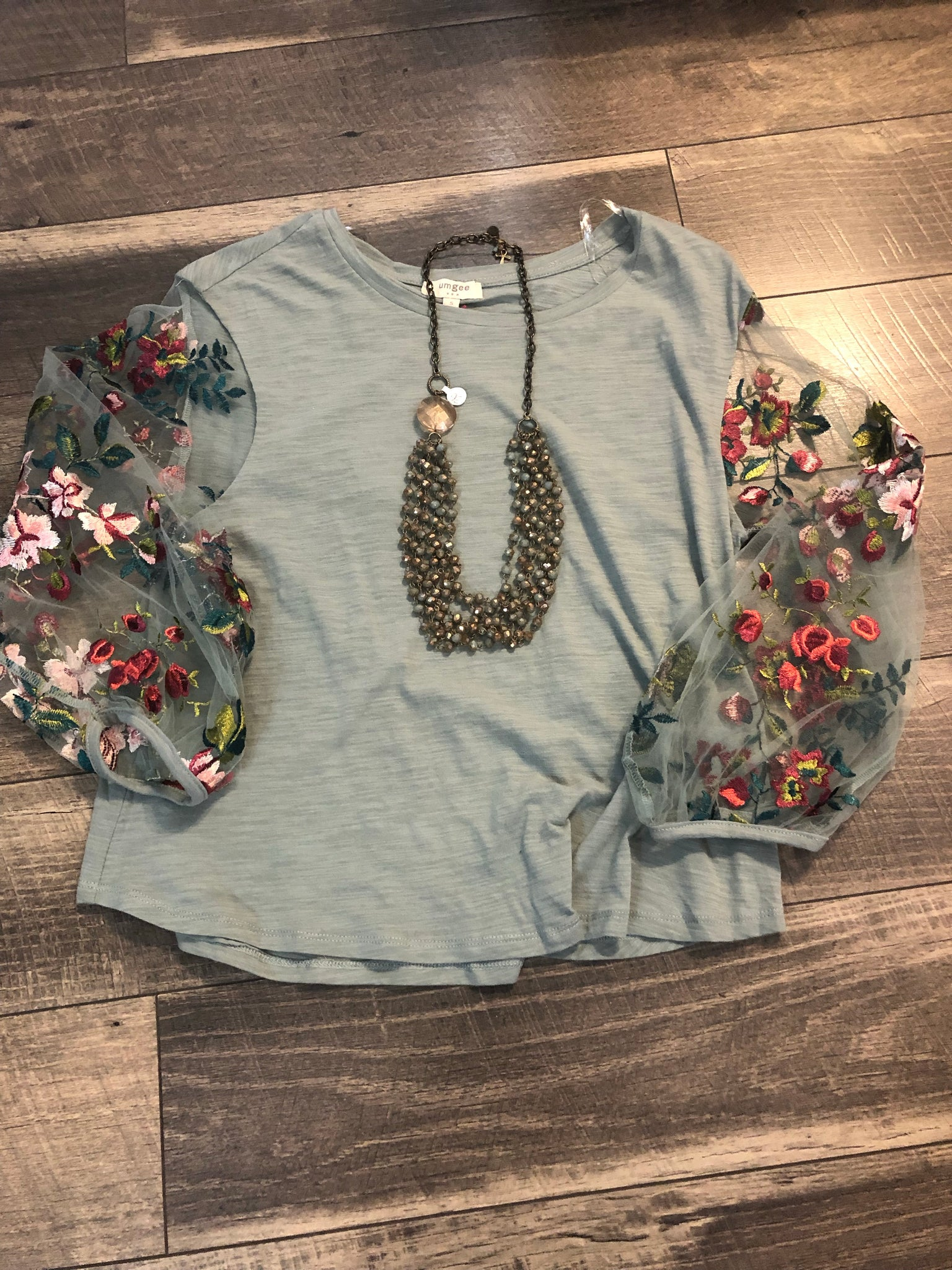 Mint Embroidered Puff Sleeve Top
