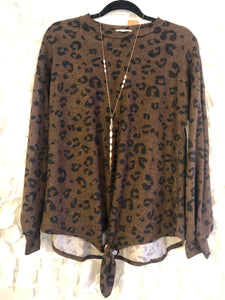 Tie Front Brown and Black Leopard Top