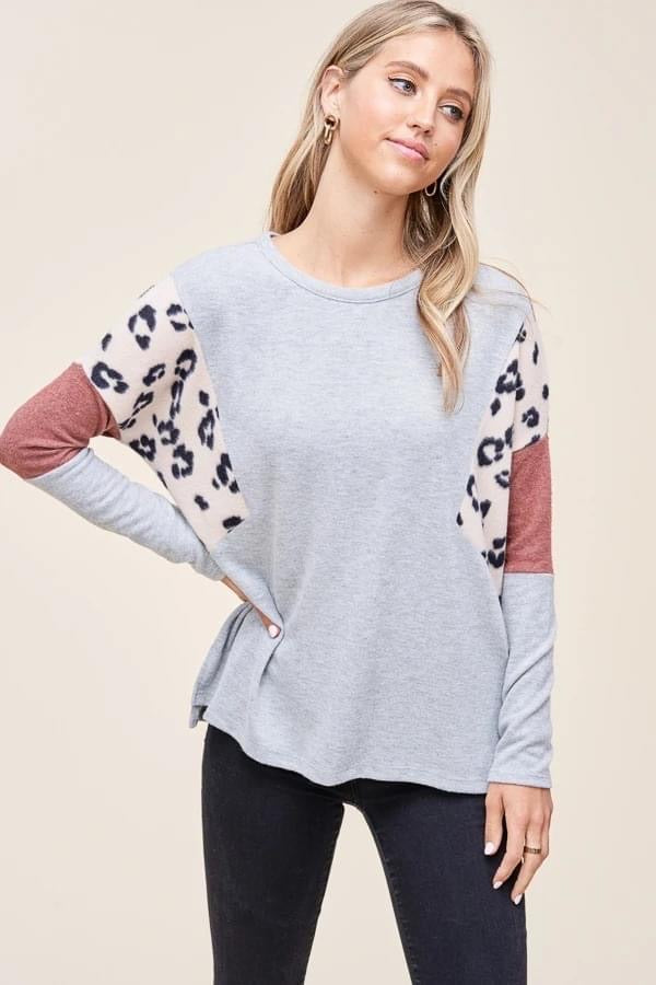 Grey and Blush Leopard Colorblock Top