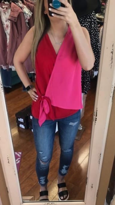 Hot Pink/Red Color Block Tank