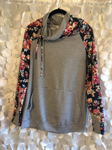 Floral and Striped Combo Hoodie