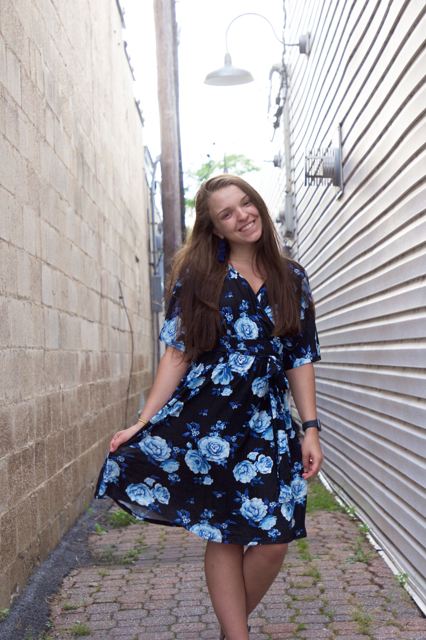 Black and Blue Floral Wrap Dress