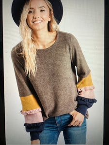 Brown Top with Color Block Sleeve