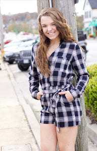Navy Plaid Romper