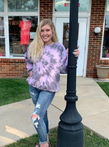 Pink and Charcoal Distressed Sweatshirt