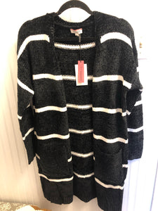 Black and Ivory Striped Chenille Cardigan