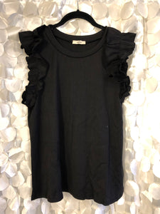 Black Crew with Ruffle Sleeve