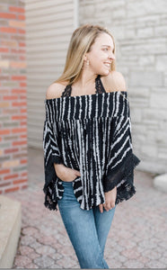 Kristin OTS Black Stripe Top