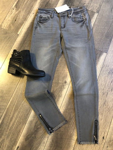 Grey Skinny with Zipper