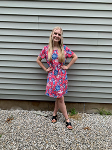 Deep Pink and Blue Floral Dress with Pockets
