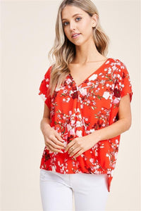 Red Floral Crossfront Top