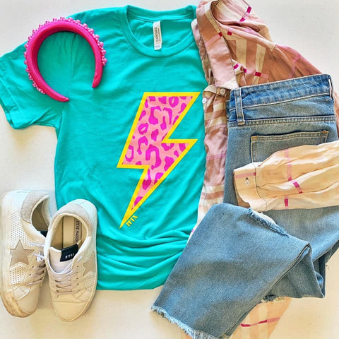 Mint and pink lightening bolt tee