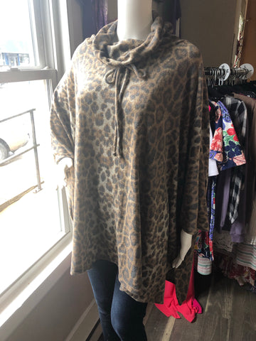 Brown Leopard Poncho