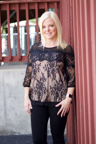 Black and Nude Lace Top