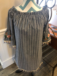 Off Shoulder Denim Dress with Tassles and Embroidery