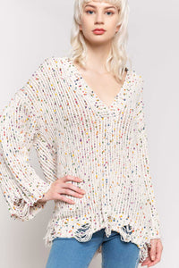 Cream Confetti Sweater with Wide Sleeve