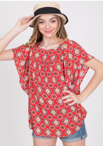 Red medallion print with bell sleeve