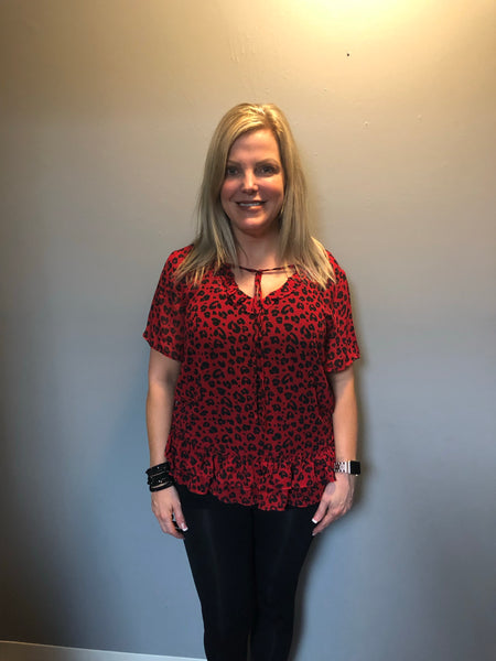 Red Sheer Leopard Print Top