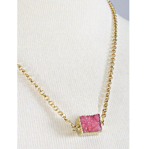 Pink Square Druzy Necklace