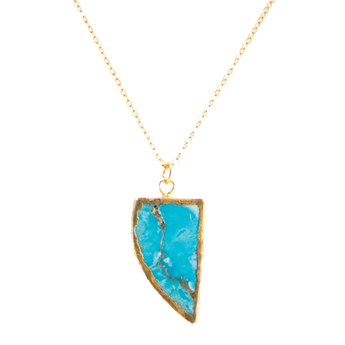 Gold Electroplated Edge Natural Turquoise Horn Pendant