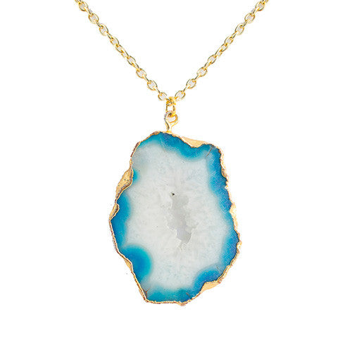 Long Natural Geode Necklace