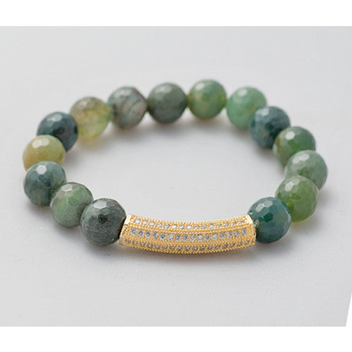 Pave Bar Bead Bracelet