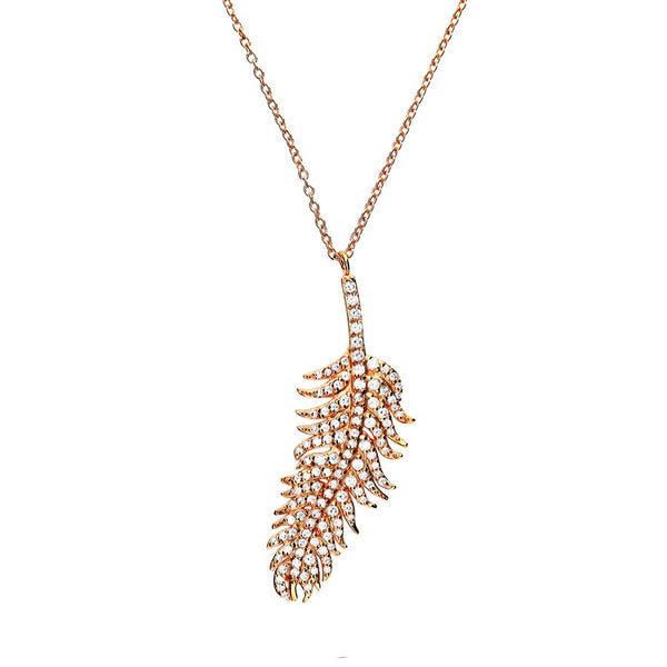 Rose Gold Pave Leaf Necklace