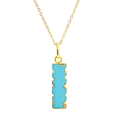 Electroplated Turquoise Bar Charm Pendant