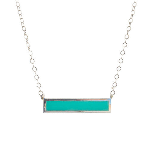 Sterling Silver Vermeil Turquoise Bar Pendant