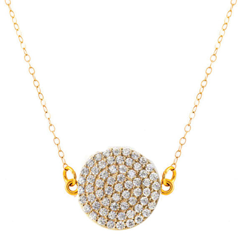 Gold Vermeil Pave Disc Necklace