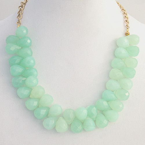 Aquamarine Faceted Teardrop Necklace