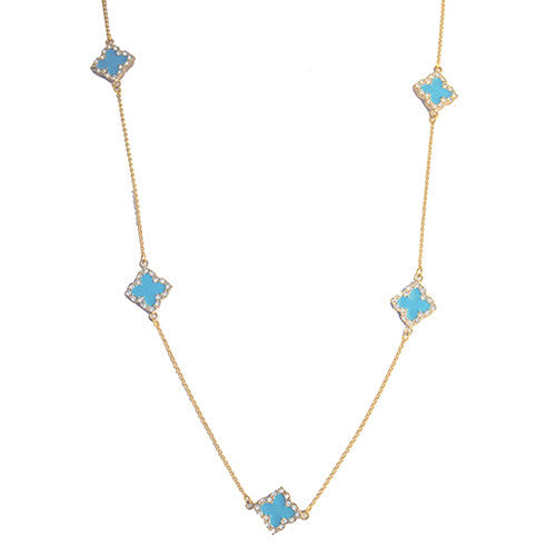 Rhinestone Quatrefoil Long Necklace