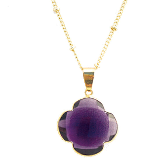 Natural Purple Amethyst  Quatrefoil Pendant