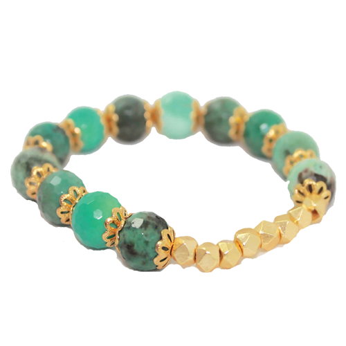 Gold Nugget Spacer Bead Bracelet