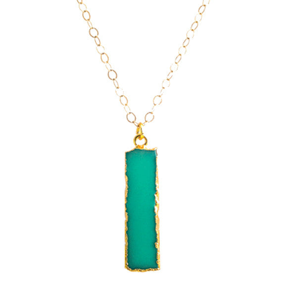 Chrysoprase Colored Bar Charm Pendant
