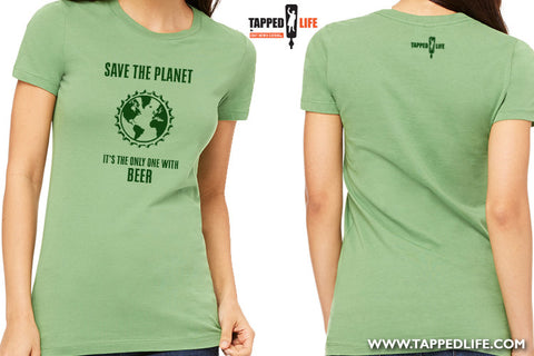 Save the planet womens beer t-shirts by Craft Brewed Clothing