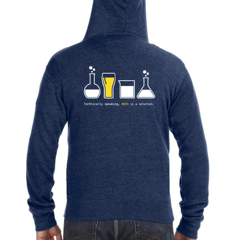 Technically Speaking, Beer is a Solution Triblend Zipper Hoodie