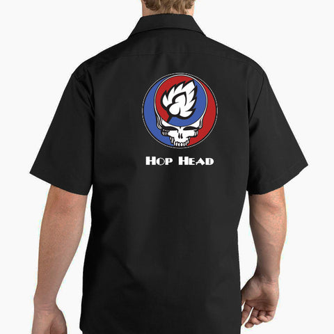 Grateful hop head brewers beer work shirts by Craft Brewed Clothing