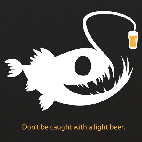 Light beer angler fish mens craft beer t-shirt by Craft Brewed Clothing