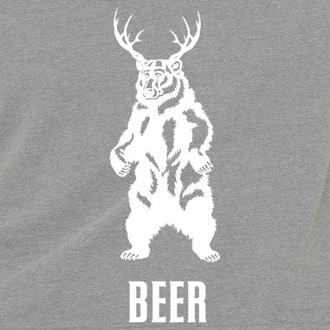 Deer + bear = beer mens/unisex tank top
