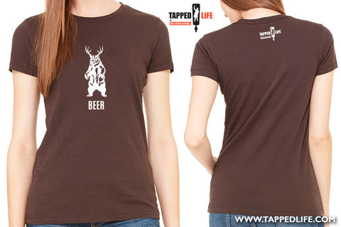 Deer + bear = beer womens t-shirts by Craft Brewed Clothing