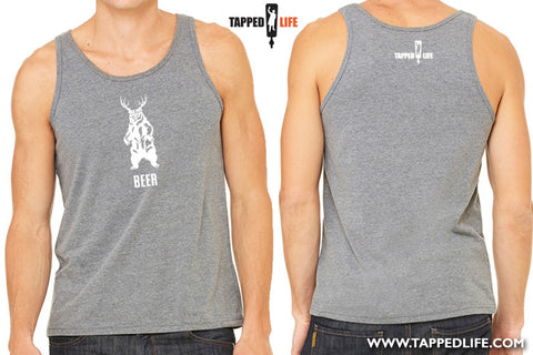 Deer + bear = beer mens/unisex tank tops