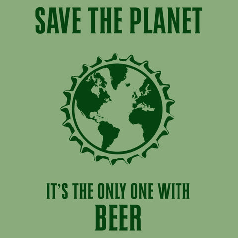 Save the planet womens beer t-shirt by Craft Brewed Clothing