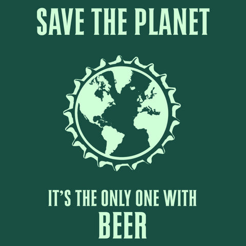 Save the planet mens beer t-shirt by Craft Brewed Clothing