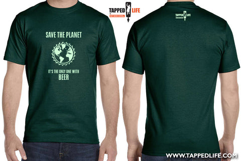 Save the planet mens beer t-shirts by Craft Brewed Clothing