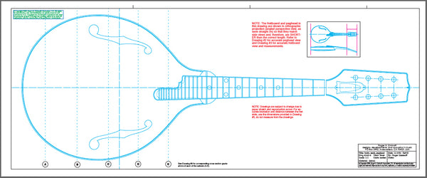 Construction blueprints for A5 Gibson mandolin designed by Lloyd Loar.
